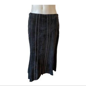 Danier Black Midi Suede Skirt with White Stitches